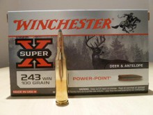 BOITE DE 20 CARTOUCHES WINCHESTER CALIBRE 243W POWER-POINT 100 GRAINS