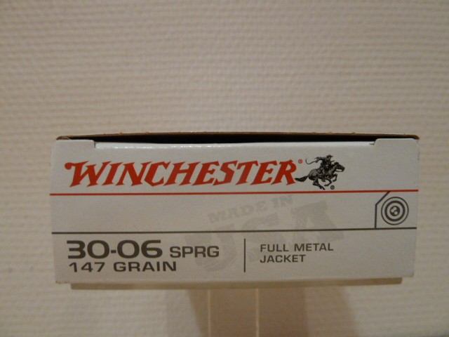 boite de 20 cartouches winchester calibre 30 06 sprg 147 grains full metal jacket munitions. Black Bedroom Furniture Sets. Home Design Ideas