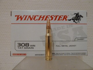 boite de 20 cartouches winchester calibre 308 w 147 grains full metal jacket munitions. Black Bedroom Furniture Sets. Home Design Ideas